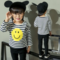 Spring&Autumn girls t-shirts smiling face printed kids t-shirts striped girls clothes long sleeve kids clothes Infantis vetement