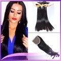 Pervian cabelo virgem não processado com fecho de grau 8 a 8a feixes de cabelo com fechamento feixes de cabelo peruano 4 feixes (1 encerramento)