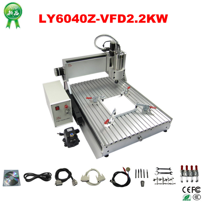 2.2KW mini CNC router 6040 Z-VFD 3 axis cnc engraving machine for metal wood 2 2kw 3 axis cnc router 6040 z vfd cnc milling machine with ball screw for wood stone aluminum bronze pcb russia free tax