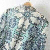весной новый европейский и американский стиль ретро синий и белый шифон рубашки блузки заклепки