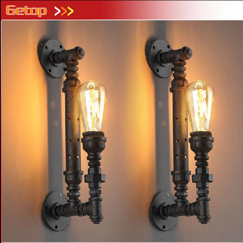 ZX Vintage Industrial Wall Lamp Country Iron Pipe Lamp E27 Edison Bulb Rust Sconce Wall Lighting Balcony Restaurant Lamp Fixture free shipping black 300mm long cage wall lamp edison vintage wall lamp fixture could choose with or without t300 bulb