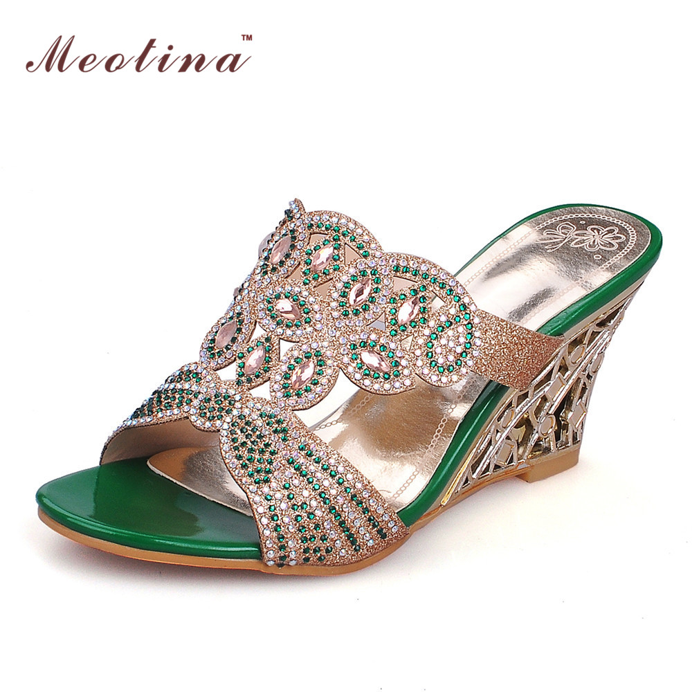 Women's sandals with bling - Meotina Women Slides Wedge Shoes High Heels Party Rhinestone Sandals Slippers Ladies Shoes Women Green Gold Big Size 12 43 44