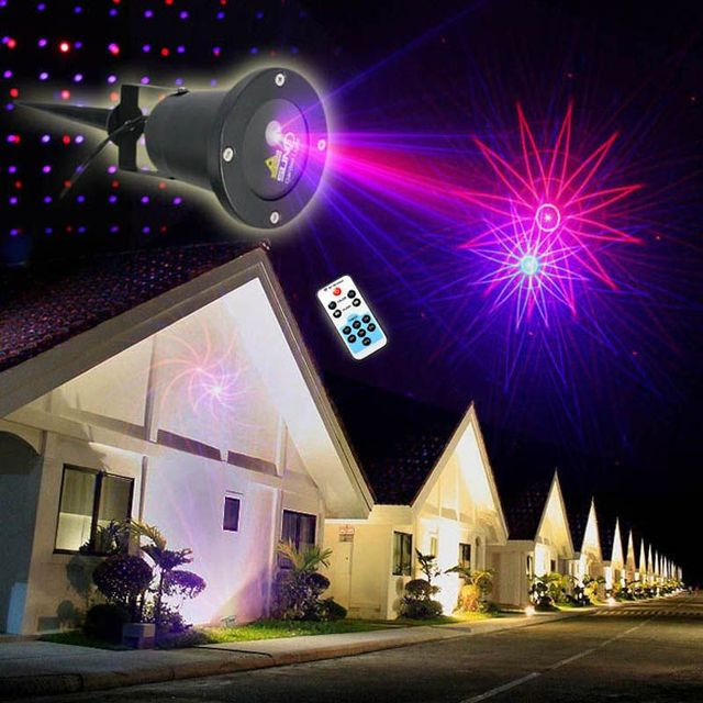 8IN1 Patterns Landscape Lighting Garden Outdoor Waterproof Xmas Led Project Laser Stage Light Effect Remote Control Color AB003