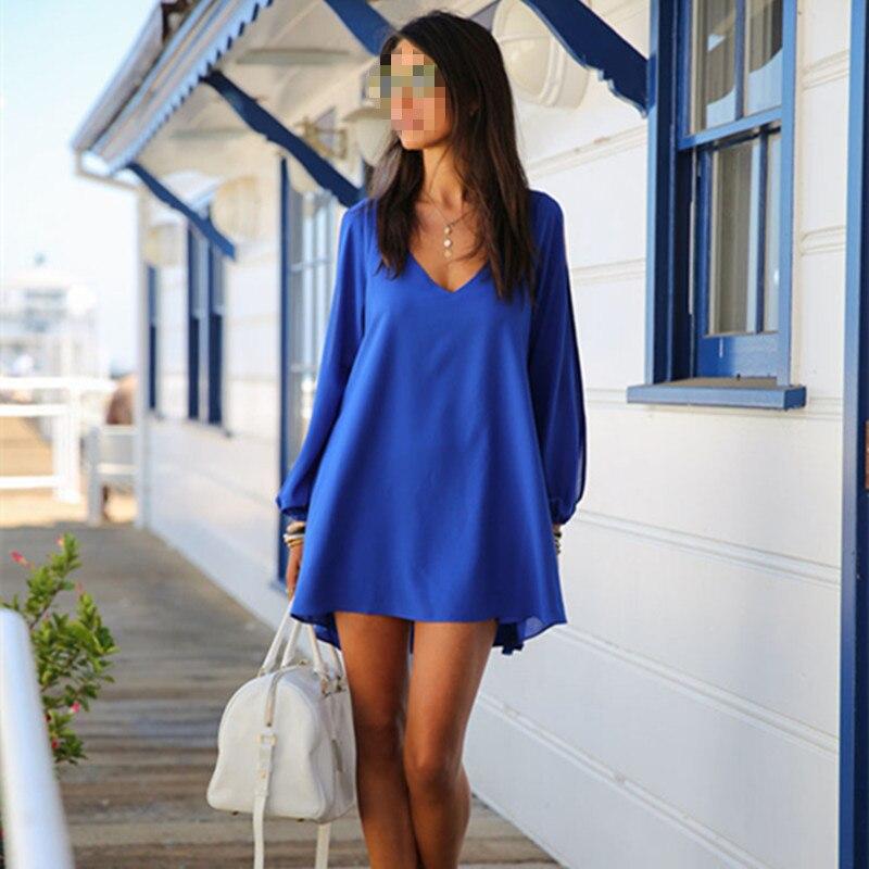 2016 Fashion Summer Dress Plus Size Sexy V-Collar  Women Clothing Chiffon Casual Beach Dresses M3882