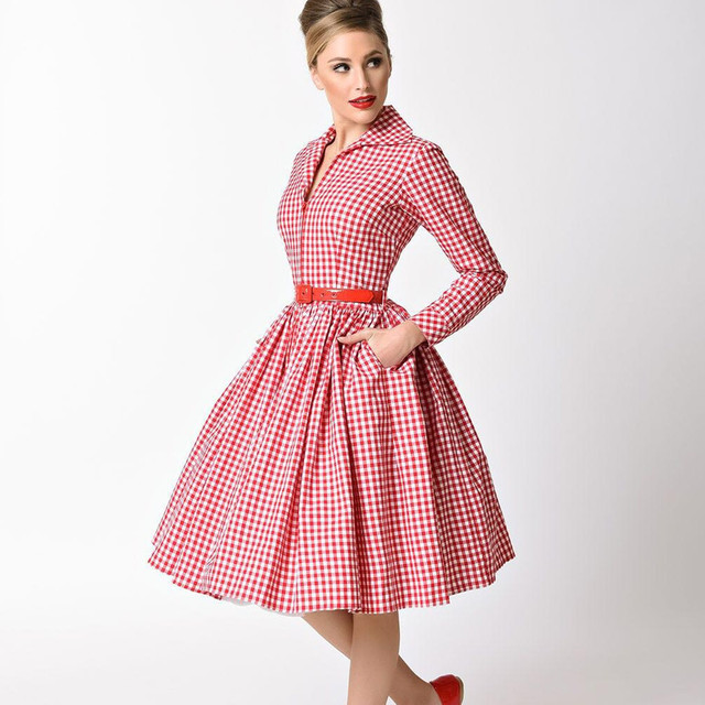 summer women vintage 1950s red white gingham check long sleeve midi swing  dress rockabilly pinup vestidos