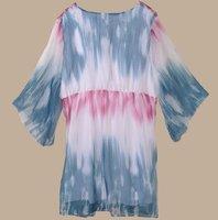 бесплатная доставка + 3 шт./лот новый большой размер платье plus001 мода летнее платье из шифона женской одежды для блузки женская платье