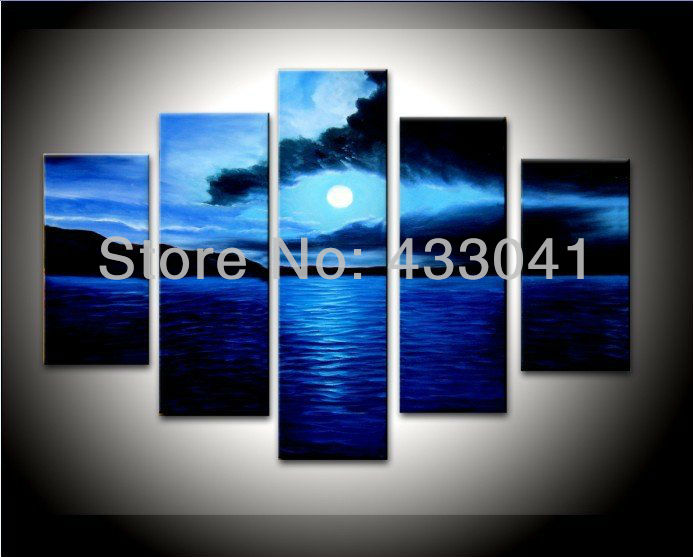 548a7bf7876 Hand Painted Moon Navy Blue Ocean Landscape Canvas Wall Art Oil Painting 5  Piece Abstract Modern Living Room Wall Decor Set Sale-in Painting    Calligraphy ...