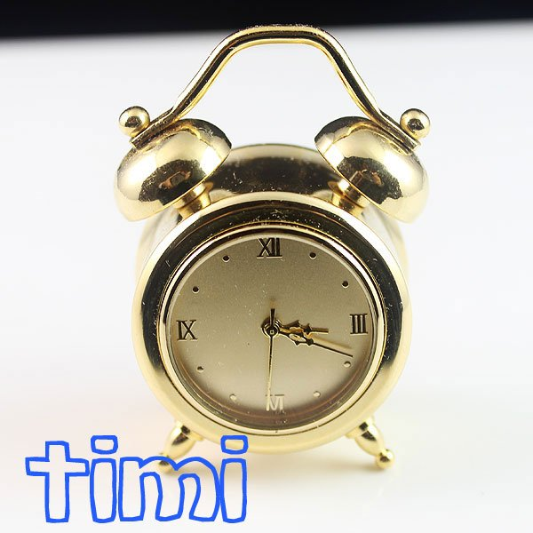 New Nice Gold Tone Alarm Clock Pocket Watch+High Quality Leather Gift Box hot freeship