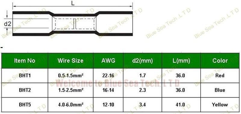 200 шт/партия BHT1 красный термоусадочный стыковой соединители и соединения для 0,5-1,5 мм2, 22-16 AWG провода хорошего качества