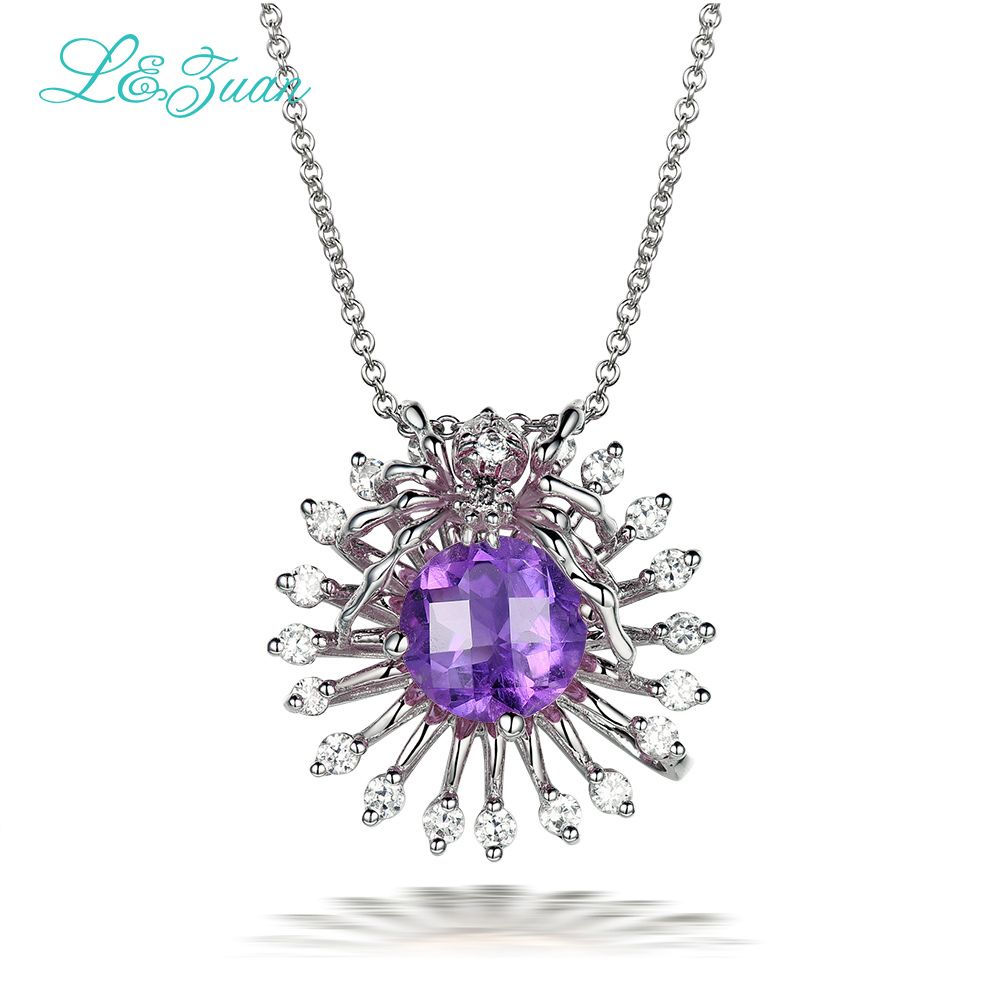 l&zuan S925 silver Amethyst Pendants Necklaces for woman Trendy spider 1.64ct purple Gemstones gift Fine jewelry Sweater chain trendy copper tube sweater chain for women
