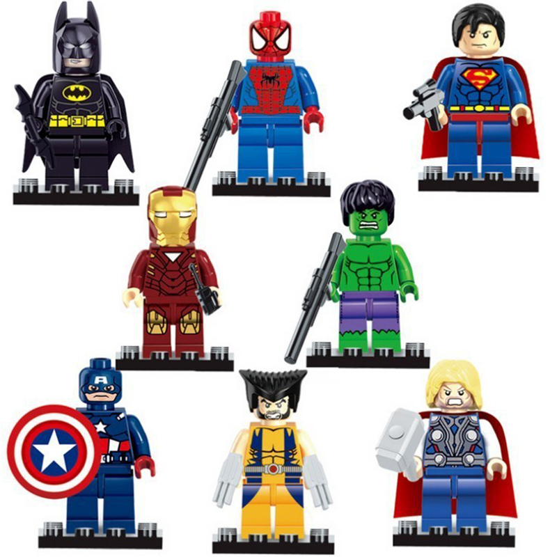 8pcs lot Avengers Super Heroes Building font b Blocks b font With Weapon Baby Mini Sets