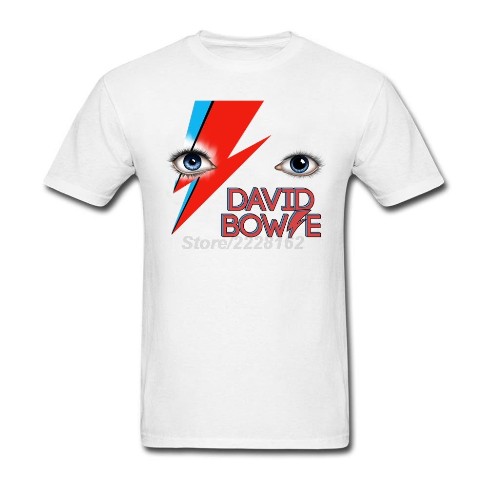 David Bowies eyes Tee Shirts punk rock art for Mens Round Collar Men t-shirt 100% Cotton Fitted David Robert Jones Clothing ...