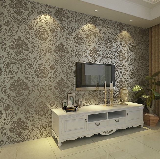 Non Woven Embossed Bedroom Wallpaper Modern Damask White Wallcovering Clic Wall Papers For Living Room In Wallpapers From Home