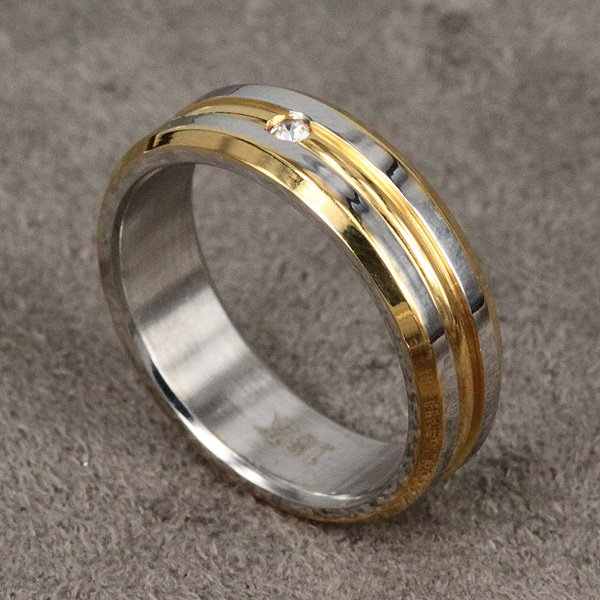 aliexpress com free shipping r099 silver color simple lines gold and silver wedding ring combination - Gold And Silver Wedding Rings