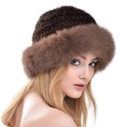 Women Fashion Luxury Cap High Quality 2016 New Knitted Mink Fur Hat With Fox Fur Brim Fedoras Winter Warm Caps Hats LH337
