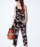 мода лето женская дамы пантера леопард животных печать без рукавов комбинезоны комбинезон с шею мл бесплатная доставка