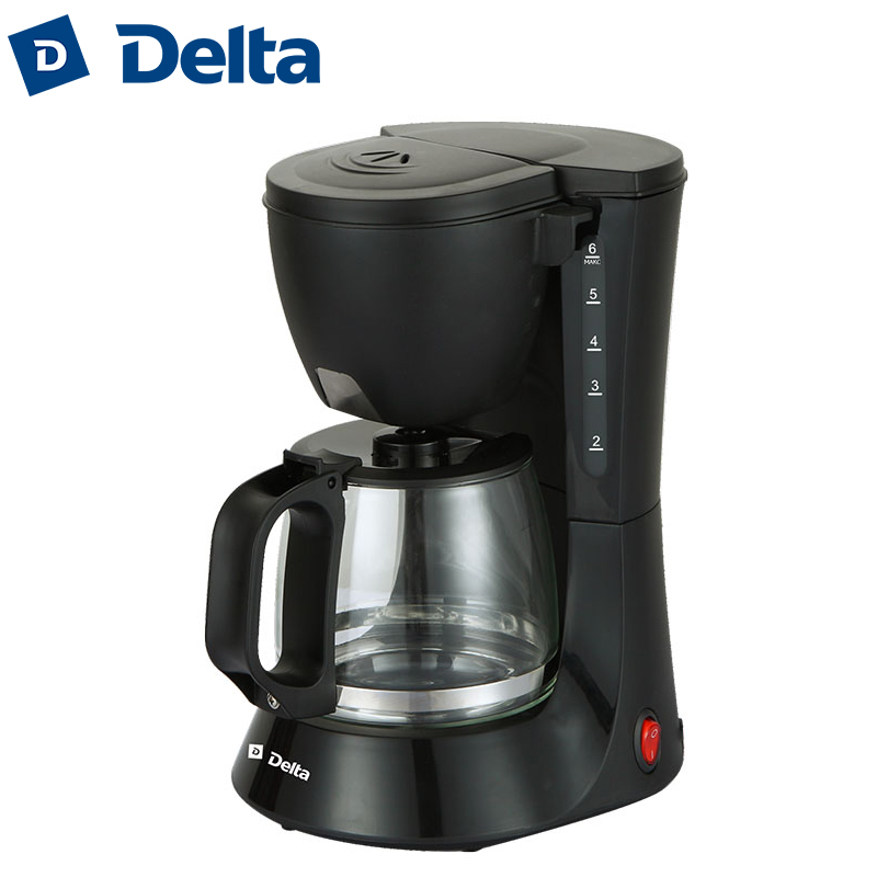 DL-8153 Coffee maker machine drip, cafe household american plastic material, work indicator, 600W, capacity 6 cups(0,6L) dmwd electric waffle maker muffin cake dorayaki breakfast baking machine household fried eggs sandwich toaster crepe grill eu us