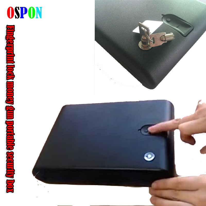 OSPON Fingerprint Safe Box Solid Steel Security Key Gun Valuables Jewelry Box Protable Security Biometric Fingerprint Safes 120B protable safes strongbox fingerprint safe box security fingerprint and key lock 2 in 1 valuables jewelry box for car household