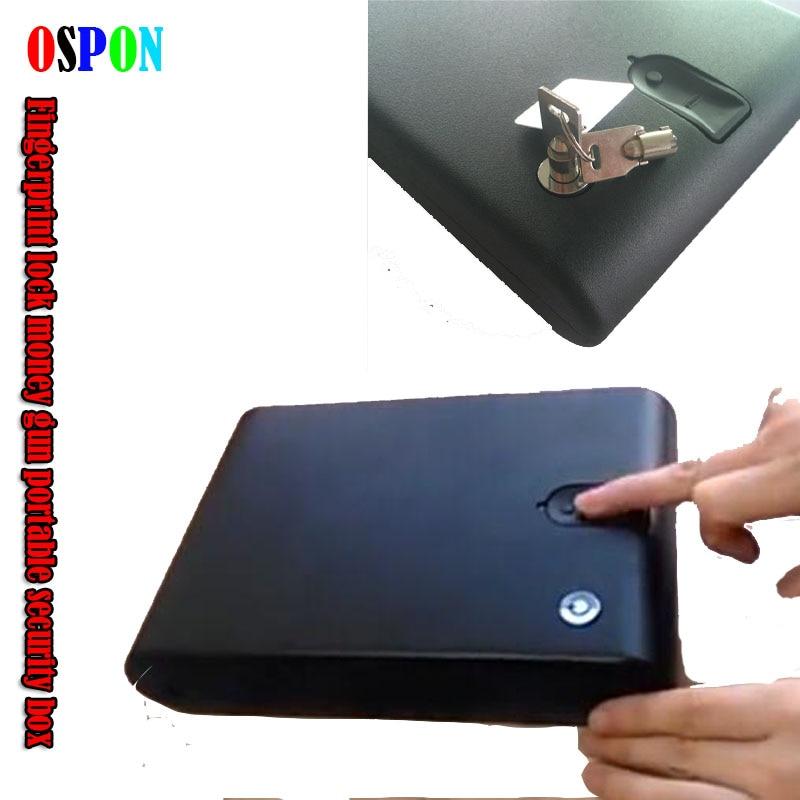 OSPON Fingerprint Safe Box Solid Steel Security Key Gun Valuables Jewelry Box Protable Security Biometric Fingerprint Safes 120B