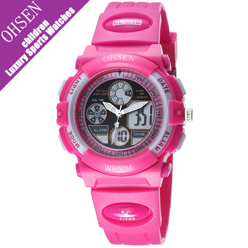 Ohsen Children Dual Time Sport Watches For Girls Waterproof 50M Pink Black Band Kids LED Digital Quartz Wristwatches Boys Gift splendid brand new boys girls students time clock electronic digital lcd wrist sport watch