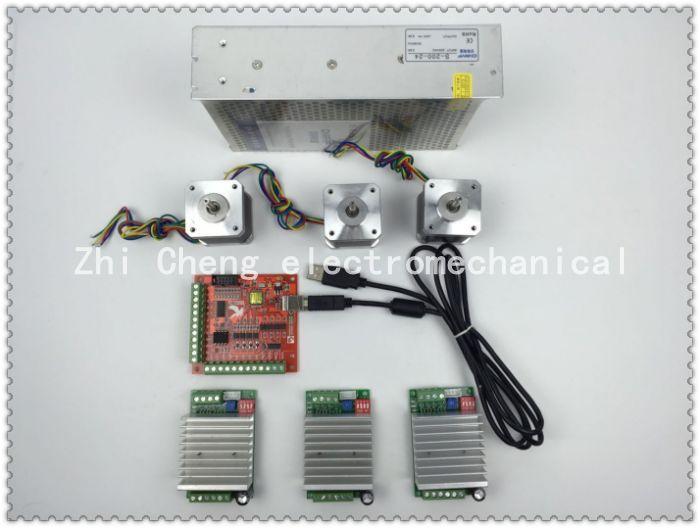 mach3 CNC USB 3 Axis Kit, 3pcs TB6600 driver+ mach3 USB stepper motor controller 100 KHz+3pcs nema17 stepper motor +power supply 3pcs 100