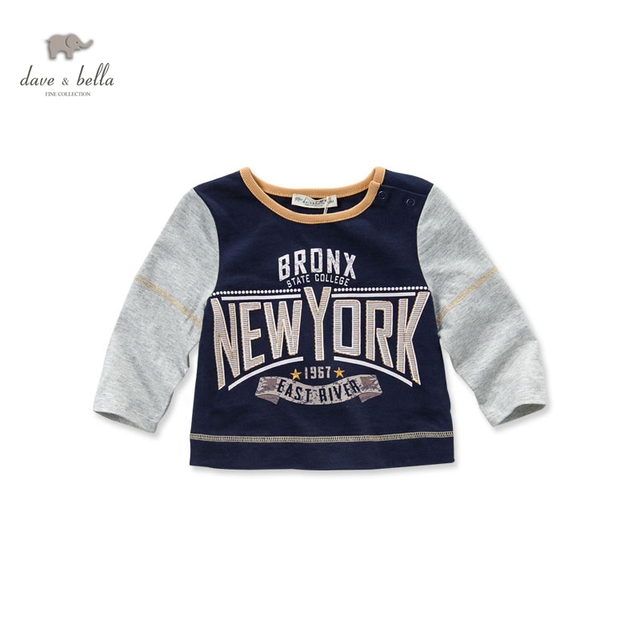 DB3111 dave bella spring baby boy cotton t-shirt infant clothes toddle t shirt boys top high quality  American style  tee