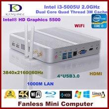 2016 Newest Kingdel Fanless Intel i3-5005U Mini PC HTPC 4GB RAM USB 3.0 WiFi HDMI Blue-ray DirectX 11 support RS232 Optional
