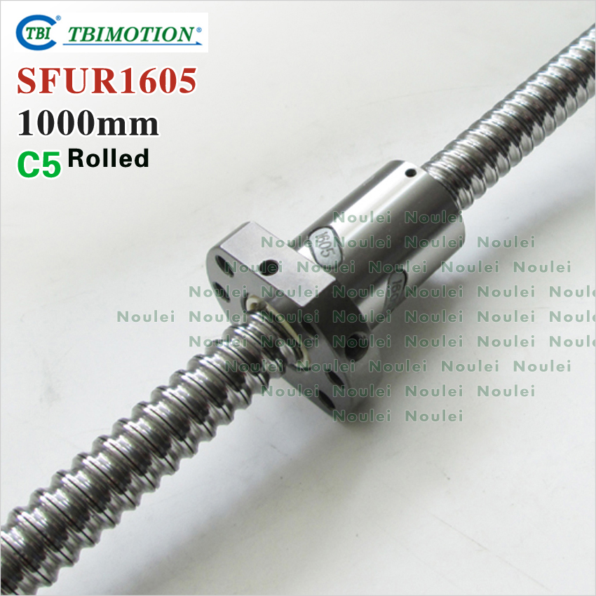TBI 1605 C5 1000mm ball screw 5mm lead  with SFU1605 ballnut + end machined for CNC z axis diy kit tbi 1605 c3 400mm ball screw 5mm lead with sfu1605 ballnut ground for high precision cnc diy kit of taiwan
