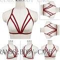 Gaiola bra Bondage Lingerie Vermelho, casamento arnês de corpo Top Colheita Quadro Goth Burlesque Erótico Fetiche Sexy Garter Belts Pin-Up Lingerie