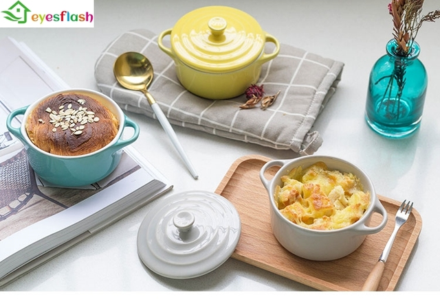 Wypieki kuchenne formy z pokrywą ceramiczne zastawy stołowe piekarnik miska na zupę Mini zapiekanka wodoodporna wolnowar miska deserowa kubek na zupę