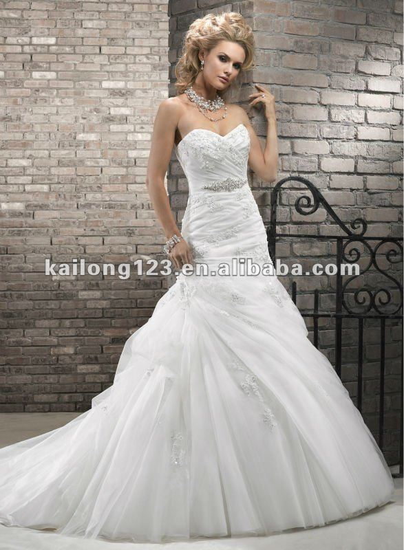 Newest Sweetheart Drop Waist A Line Gown Chapel Train Corset Lace Organza Wedding Dresses In Dubai From Weddings Events On