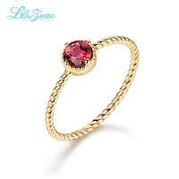 L&Zuan 14K Gold Natural Tourmaline Round Red Stone Wedding Rings for Women Simple Design Love Promise Ring Fine Jewelry 0013 2