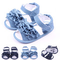 2016 Summer Baby Girl Shoes Princess Footwear Bowknot Ruffle Navy Blue Denim Jeans Girls Sandals Shoes First Walkers 0-18 Months