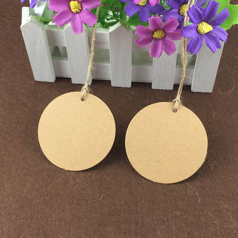 Round 6cm Kraft Paper 200PCS Tags+200 Hemp Strings Label Tag Blank Cardstock Price Tags Jewelry Cardboard Accept Custom Logo