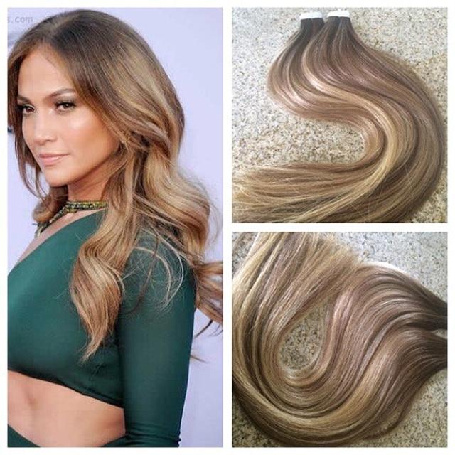 Full Shine Balayage Virgin Human Hair Extensions Color 37b27 Tape