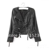 бесплатная доставка! новинка женская кожаные куртка, пиджак, куртка мотор, minisack