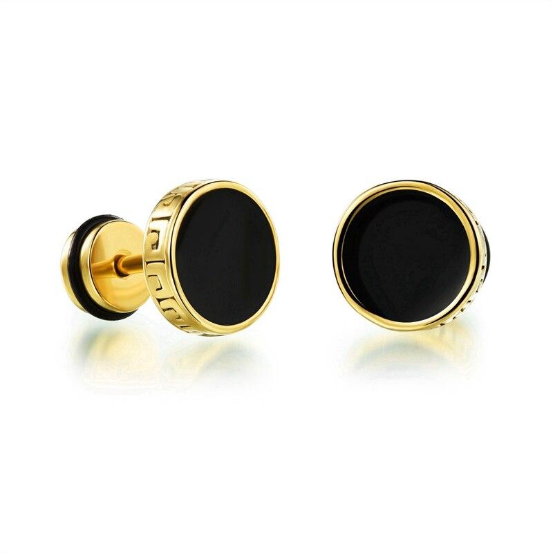 Punk Stainless Silver Gold Mens Stud Earrings For Men Engraving ...