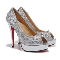 туфли уплотнения на блок 140 мм Spike туфли на высоком bloke открытым Icon туфли на платформе заклепки насос