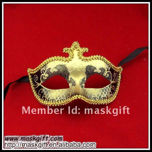 Популярные венецианском стиле маски черный и золотой блеск Маскарад