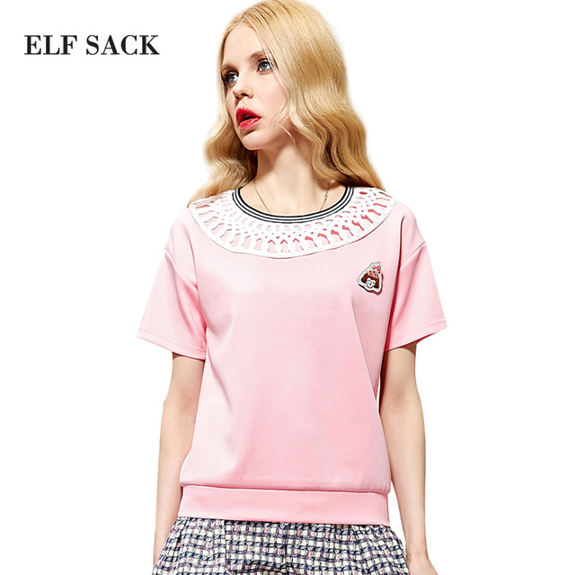 Elf SACK king summer vintage air layer cutout o-neck color block slim t-shirt female short-sleeve z