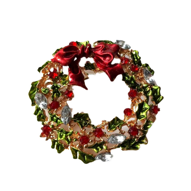 Gold Color Multicolor Leaf Flower and Bow Wreath Brooch Christmas Gift for friends