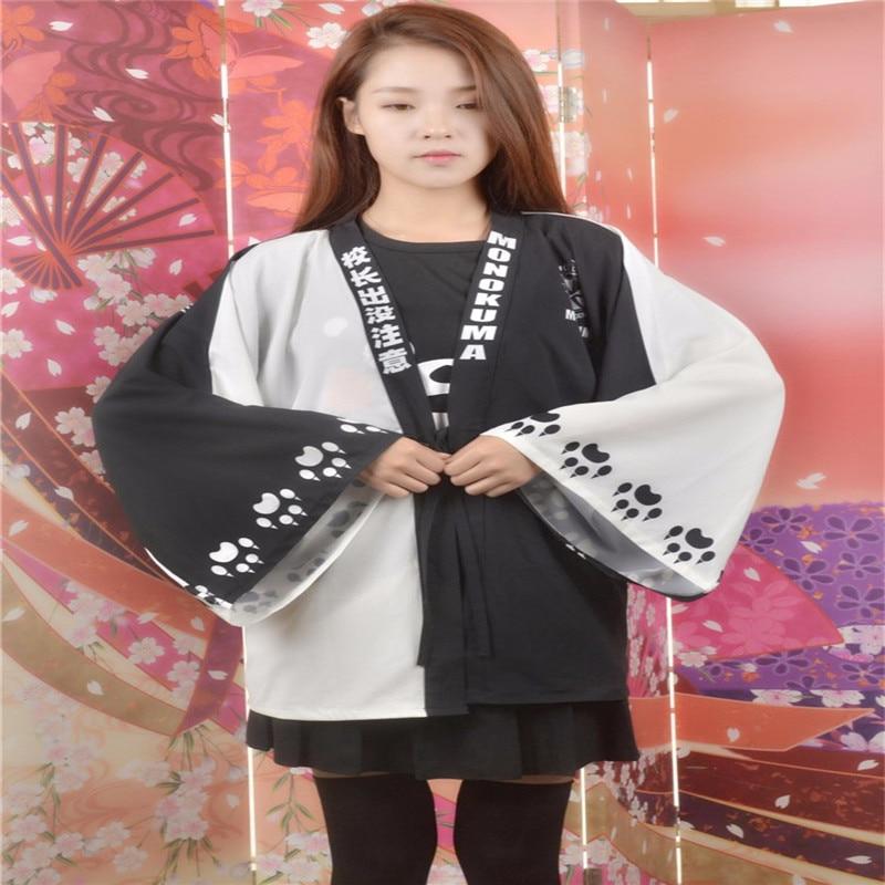 Ainiel Anime Danganronpa: Trigger Happy Havoc Cosplay Kimono  Cute Monokuma Cosplay Costume  Haori Chiffon Cloak