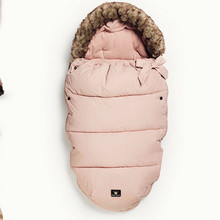 100% Brand Baby Stroller Bag /pink stroller footmuff with fur for very cold weather use free shipping 30% OFF