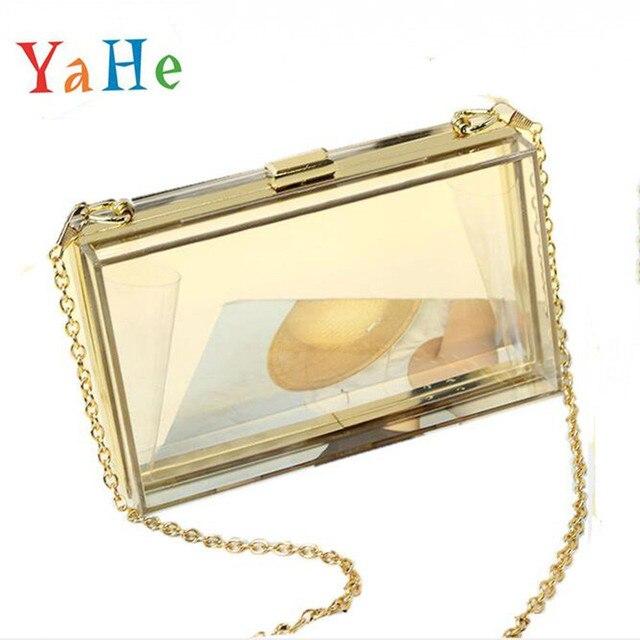Mulheres da Noite Sacos de Embreagem Dia Bolsas Femininas Bolsa de Acrílico Transparente Caixa de Luxo Da Marca Senhoras Ombro Messenger Bag Crossbody Bag