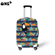 2016 ONE2 Design cute parrot pattern printing cover apply to 22,24,26 inch protective brand name travel animal luggage cover