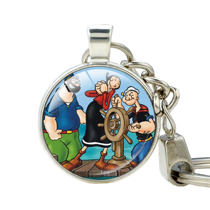 Popeye the Sailor Man Double Sided Key Groomsmen Gifts Fathers Day Gifts Best Friends Pendant Keychain for Keys