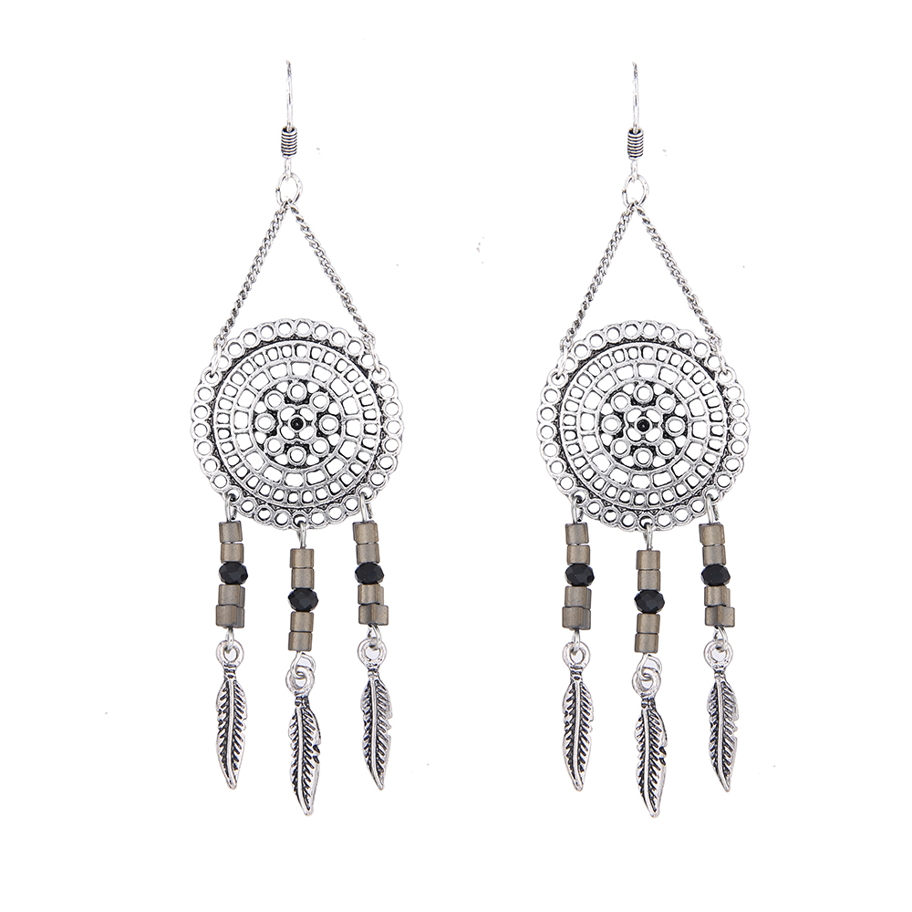 Lureme Bohemian Antique Silver Dreamcatcher Dangle Earrings Womens Vintage  Jewelry Tassel Earrings (er005460)(