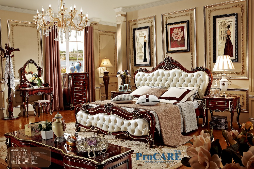 Popular Design Australia Style Bedroom Furniture Set With White Genuine Leather Red Solid Wood Bed And 5 Drawer Cabinet 6018