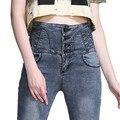 LOLEN Новая Мода Тонкий Плюс Размер Тощий Карандаш Брюки Грудью Высокой Талией Джинсы для Женщин