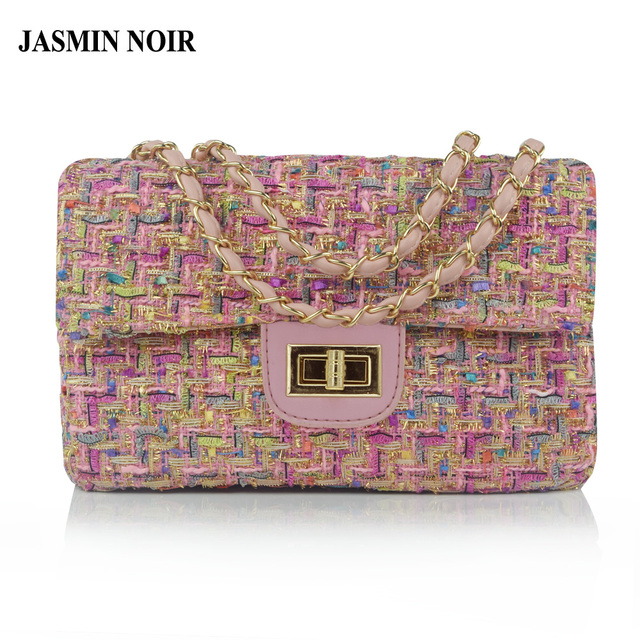 JASMIN NOIR Woolen Brand Designer Flap Women Messenger Bag Chain Famous Luxury Shoulder Bag for Ladies Winter New Crossbody Bag